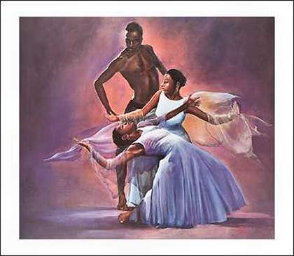 Famous African American Dance Paintings A black male dancer and two
